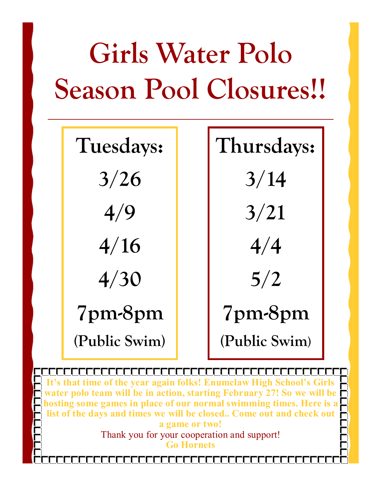 Water Polo Closures 2019 Girls.pub